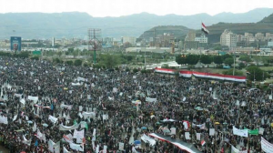pro-Houthi and pro-Saleh-Demonstration in Sana´a in pouring rain on July 29th, 2016